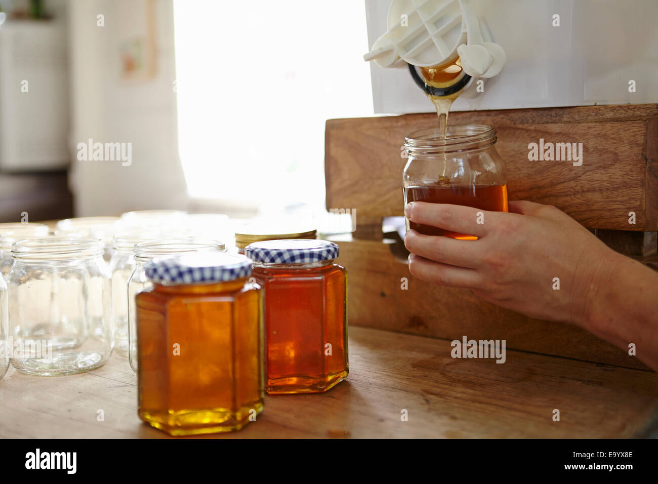 Hand of female beekeeper in kitchen bottling up filtered honey from beehive - Stock Image