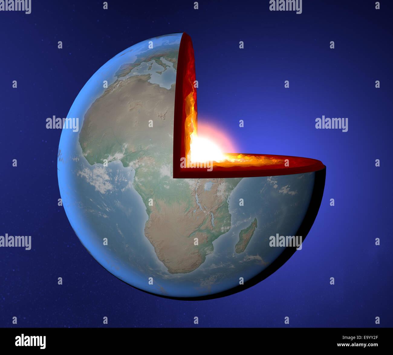 Earth's core, Earth, world, split, geophysics - Stock Image