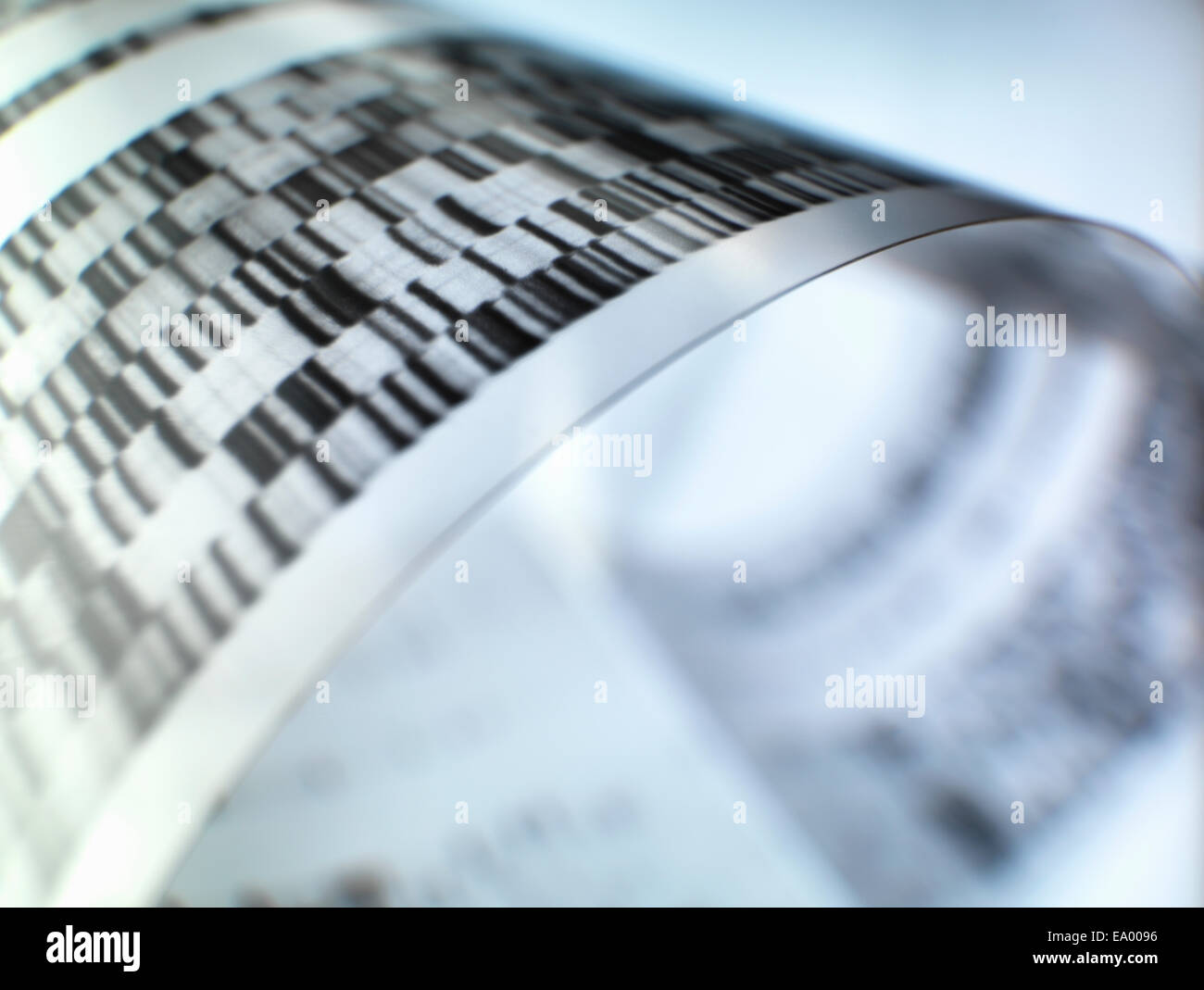 Close up of autoradiograph used in researching genetics - Stock Image