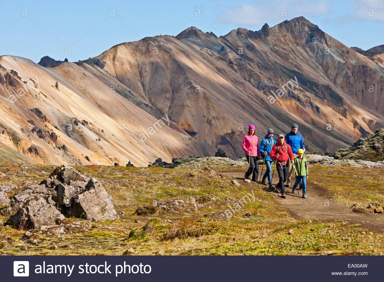 Family hiking at Landmannalaugar, Fjallabak, Iceland - Stock Image