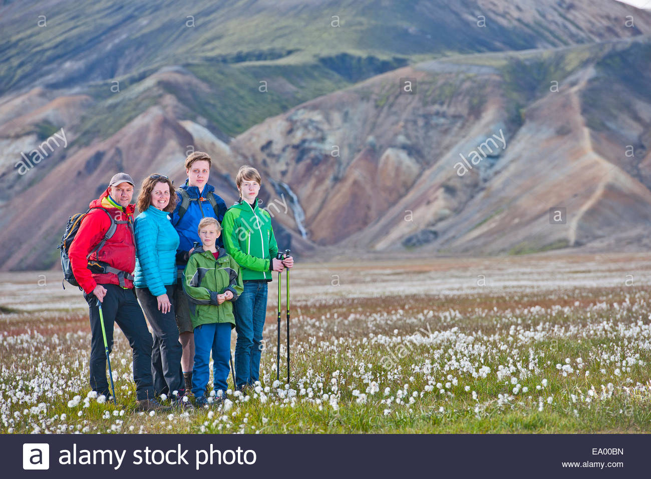 Portrait of family standing in the cottongrass meadow at Vondugil, Landmannalaugar, Fjallabak, Iceland - Stock Image