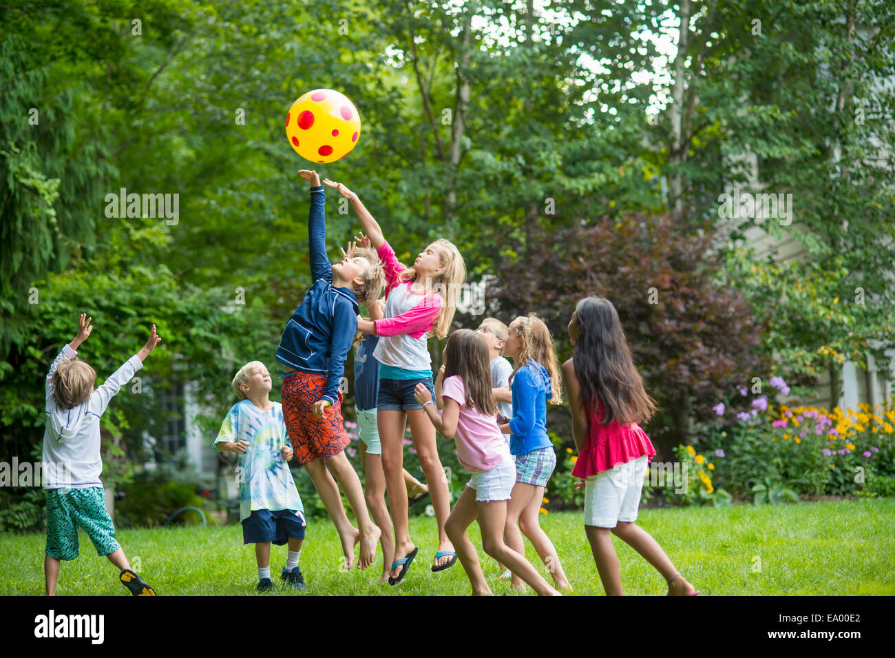 children playing ball game  garden stock photo