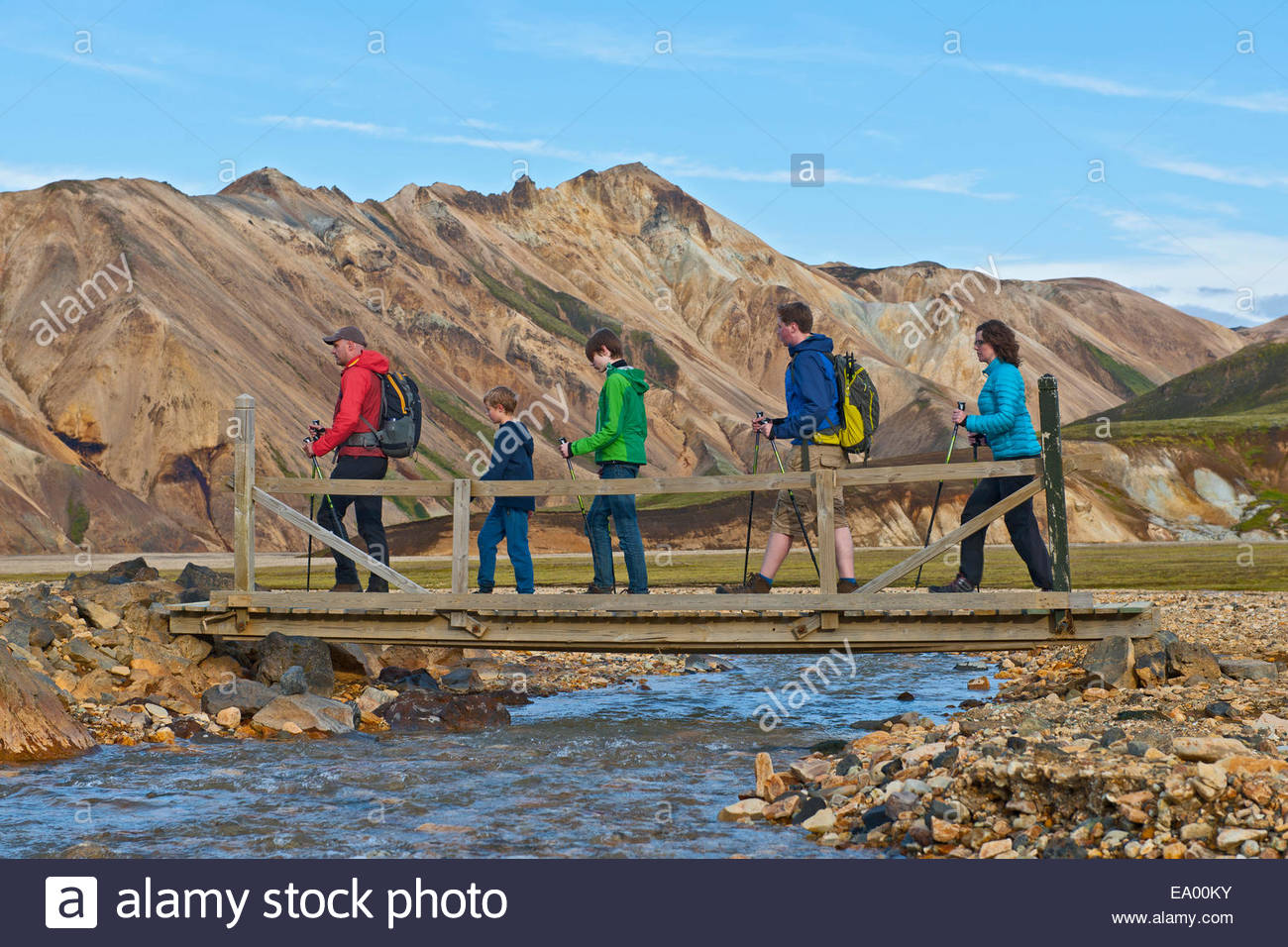 Family crossing the river bridge at Landmannalaugar, Fjallabak, Iceland - Stock Image