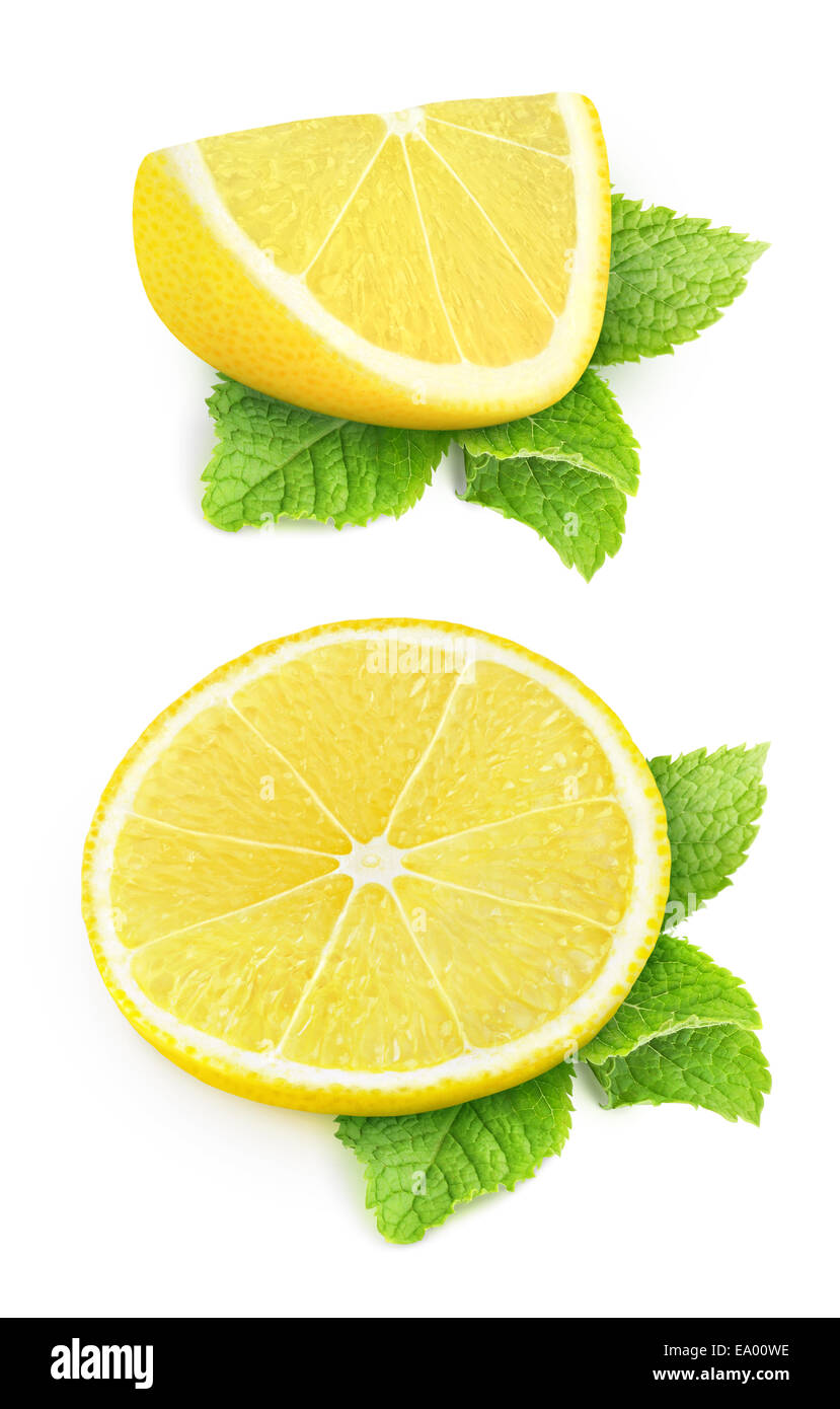 Two pieces of lemon and mint leaves isolated on white Stock Photo