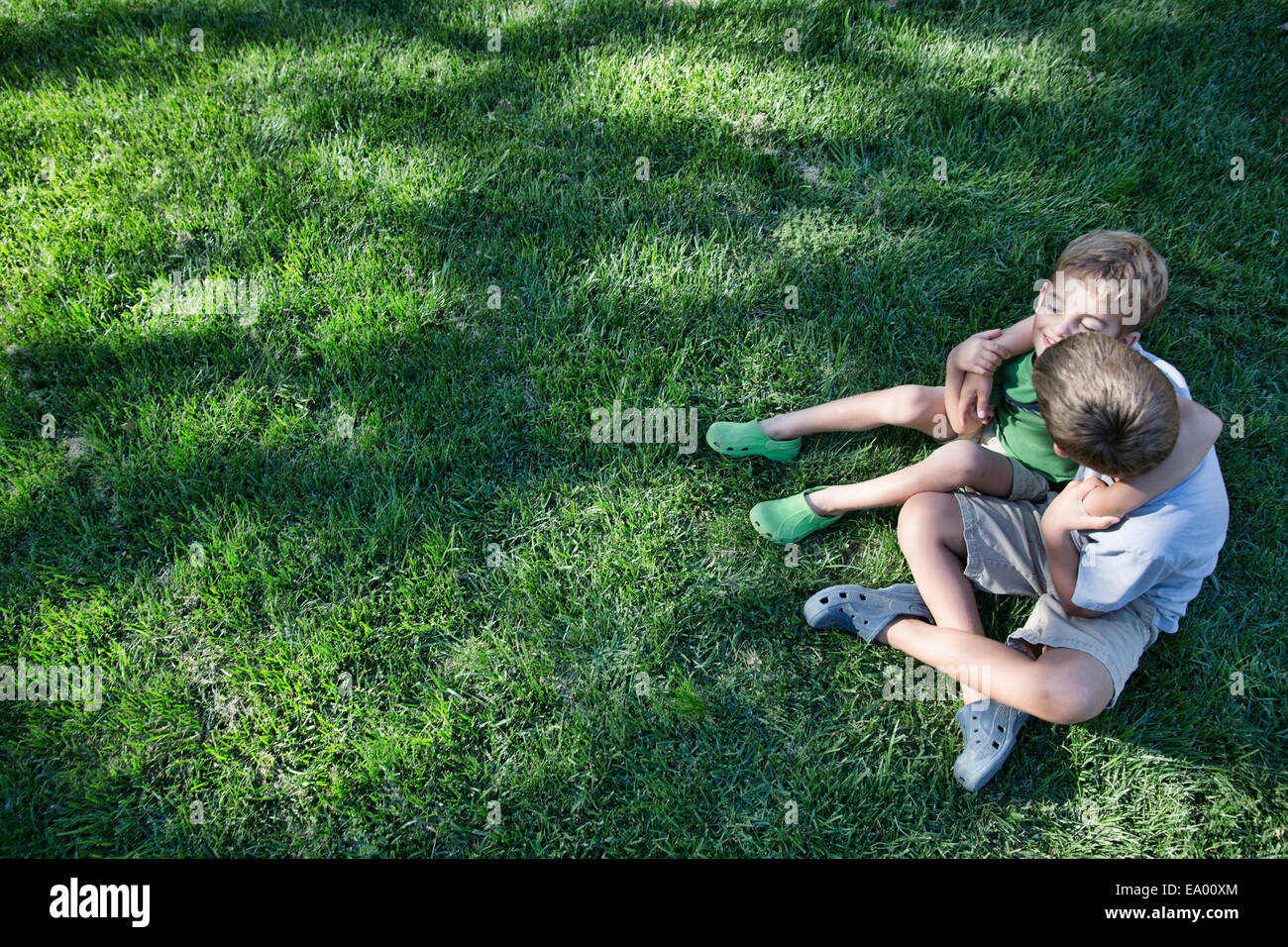 High angle view of two brothers with arms around each other in garden - Stock Image