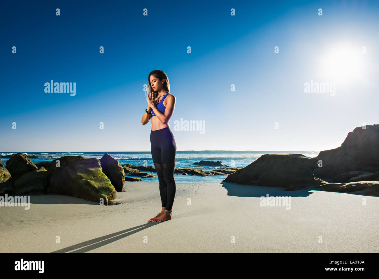 Standing at attention - samasthiti, Windansea beach, La Jolla, California - Stock Image