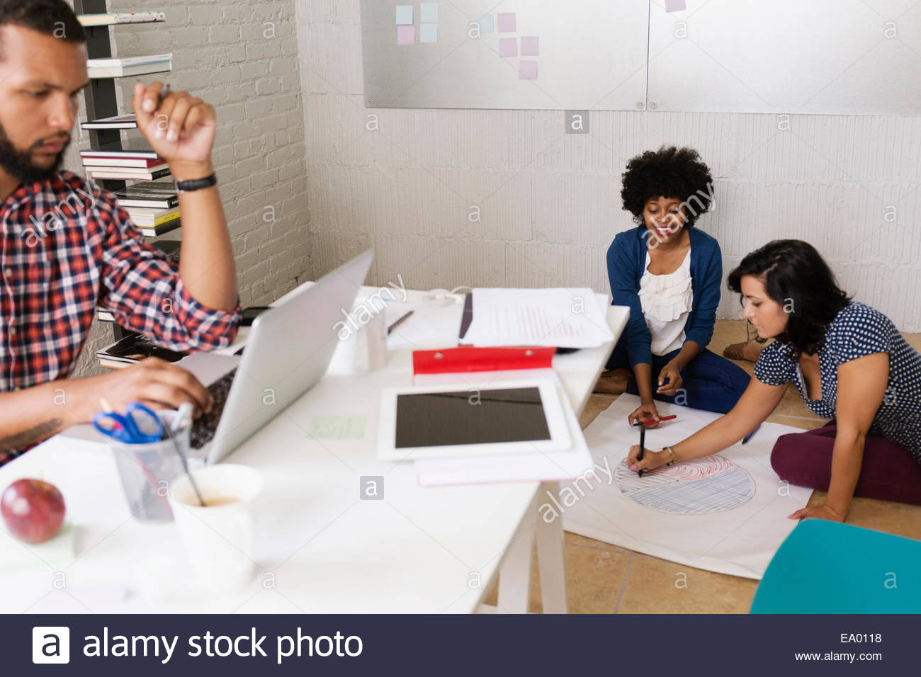 People working in Small Business, Start-up - Stock Image