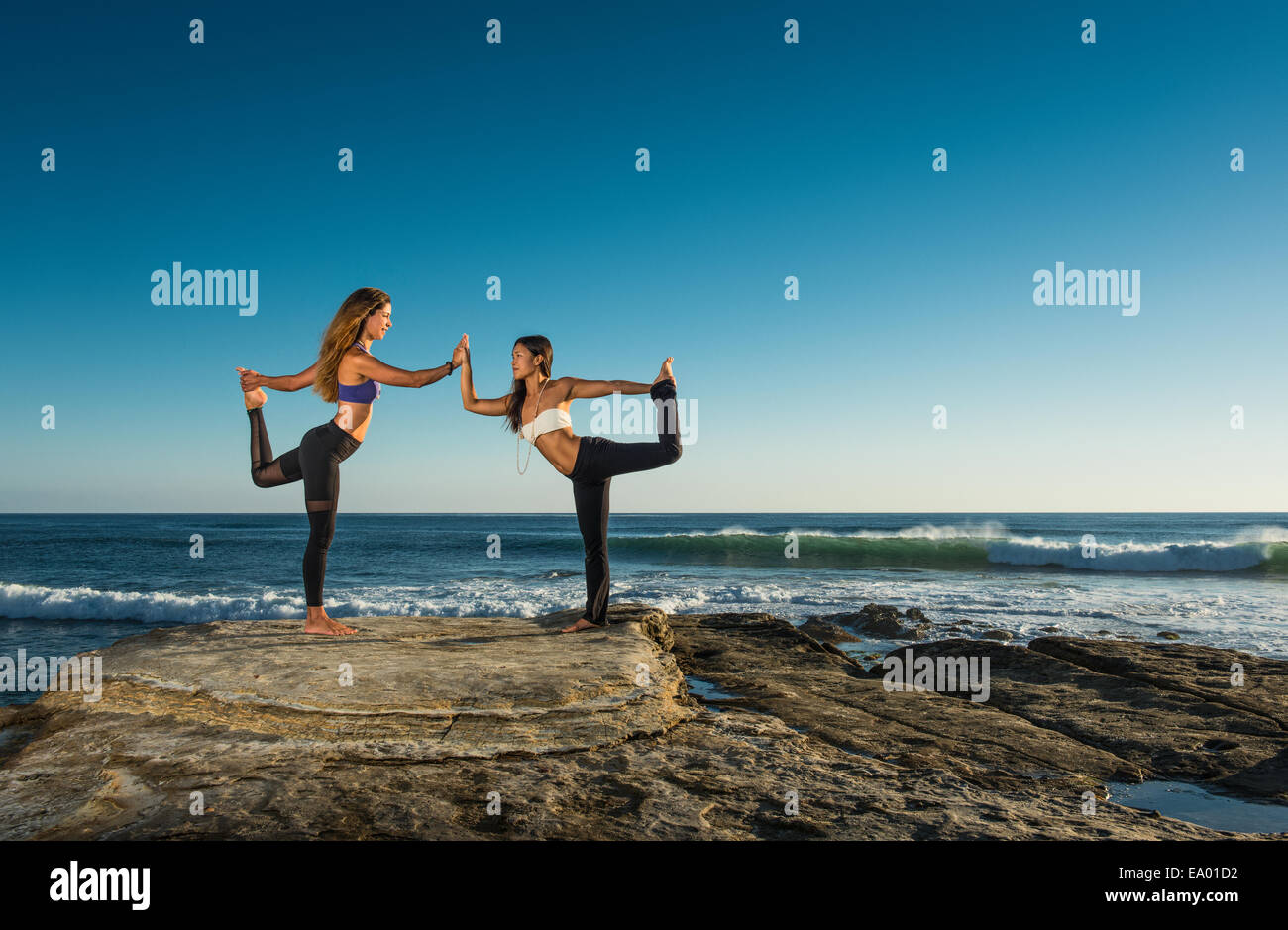 Dancer pose, Windansea beach, La Jolla, California - Stock Image