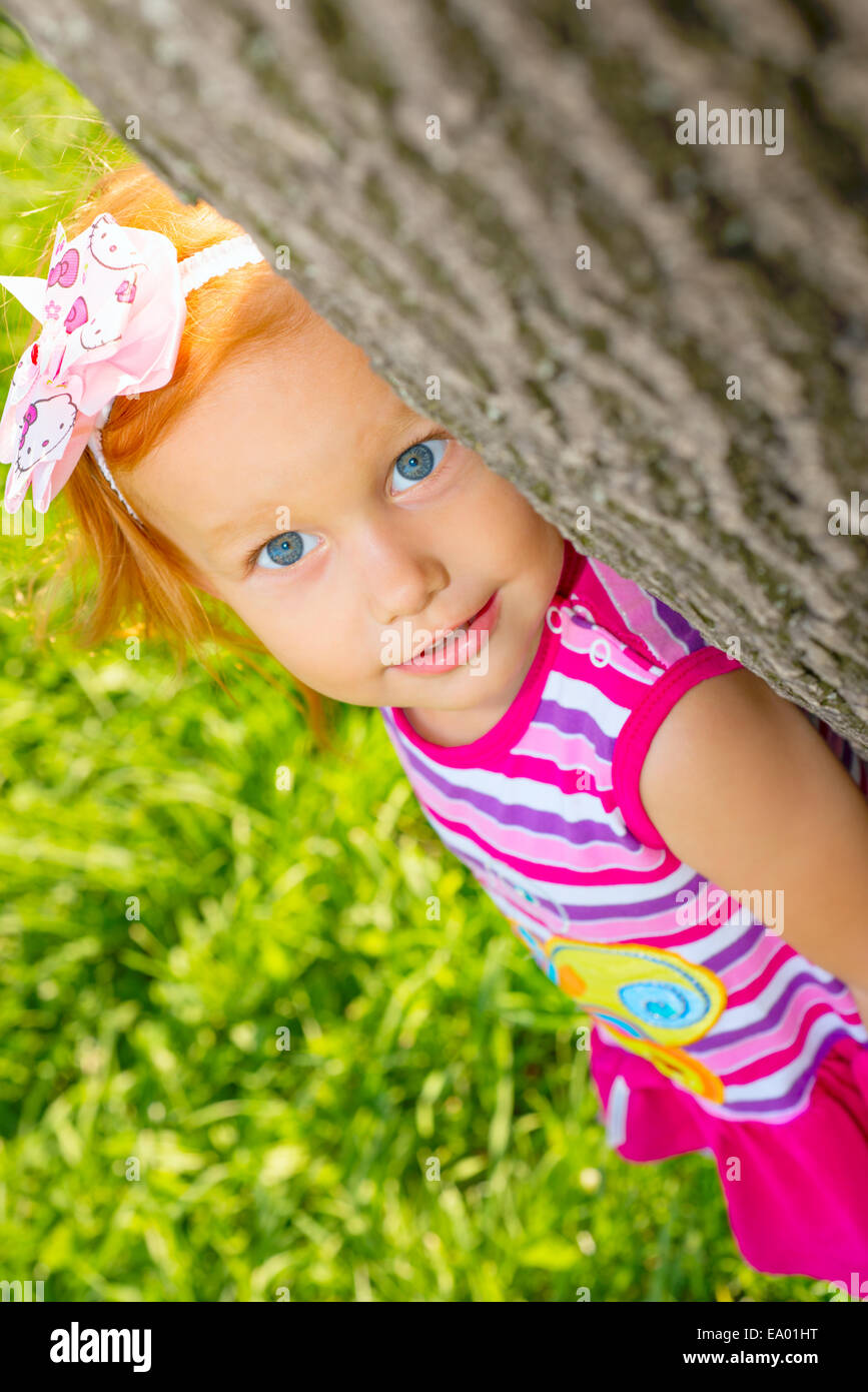 Portrait of a little girl on the nature - Stock Image