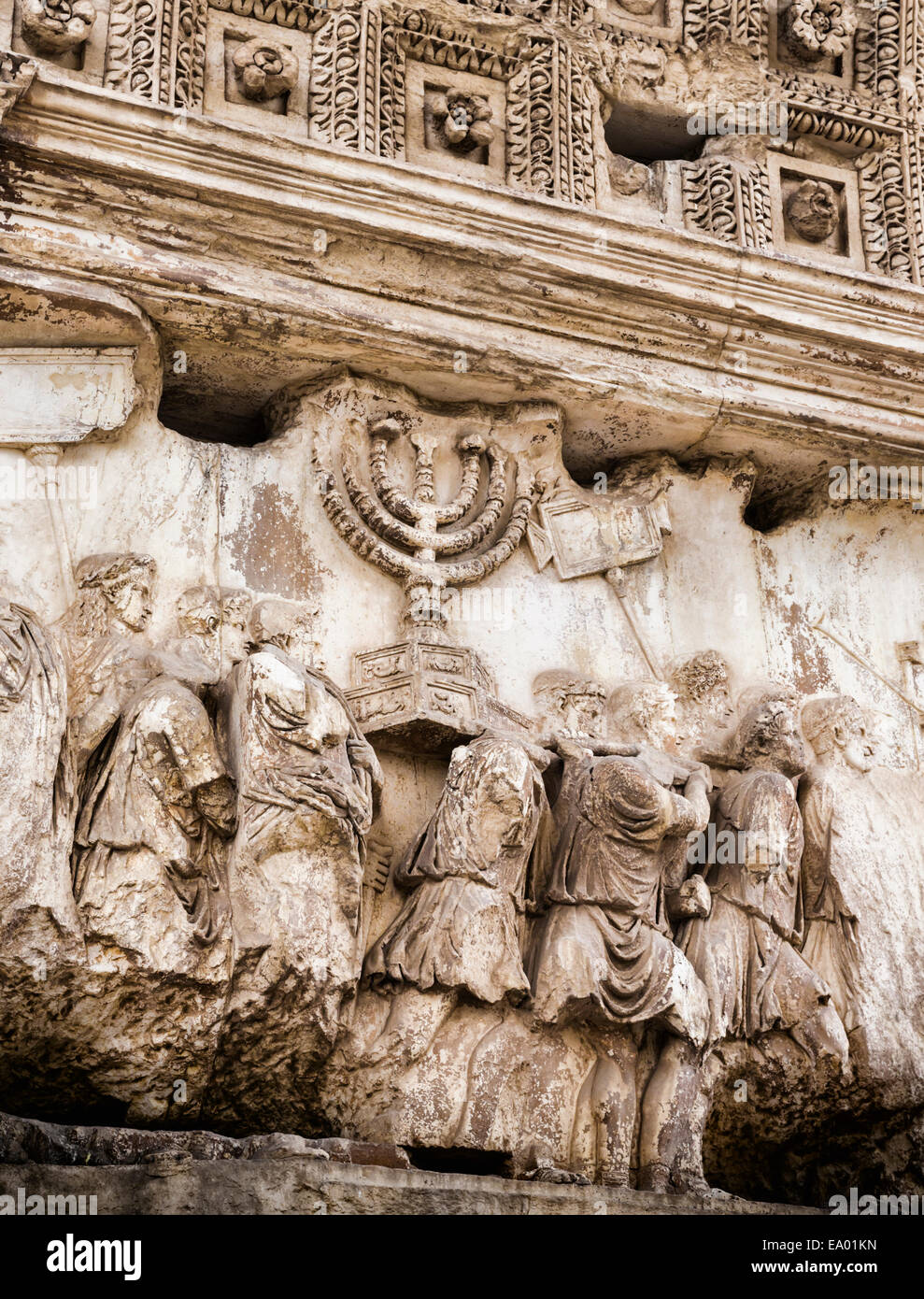 Rome, Italy.  The procession panel on the Arch of Titus in the Roman Forum, commemorating conquest of Judea. - Stock Image