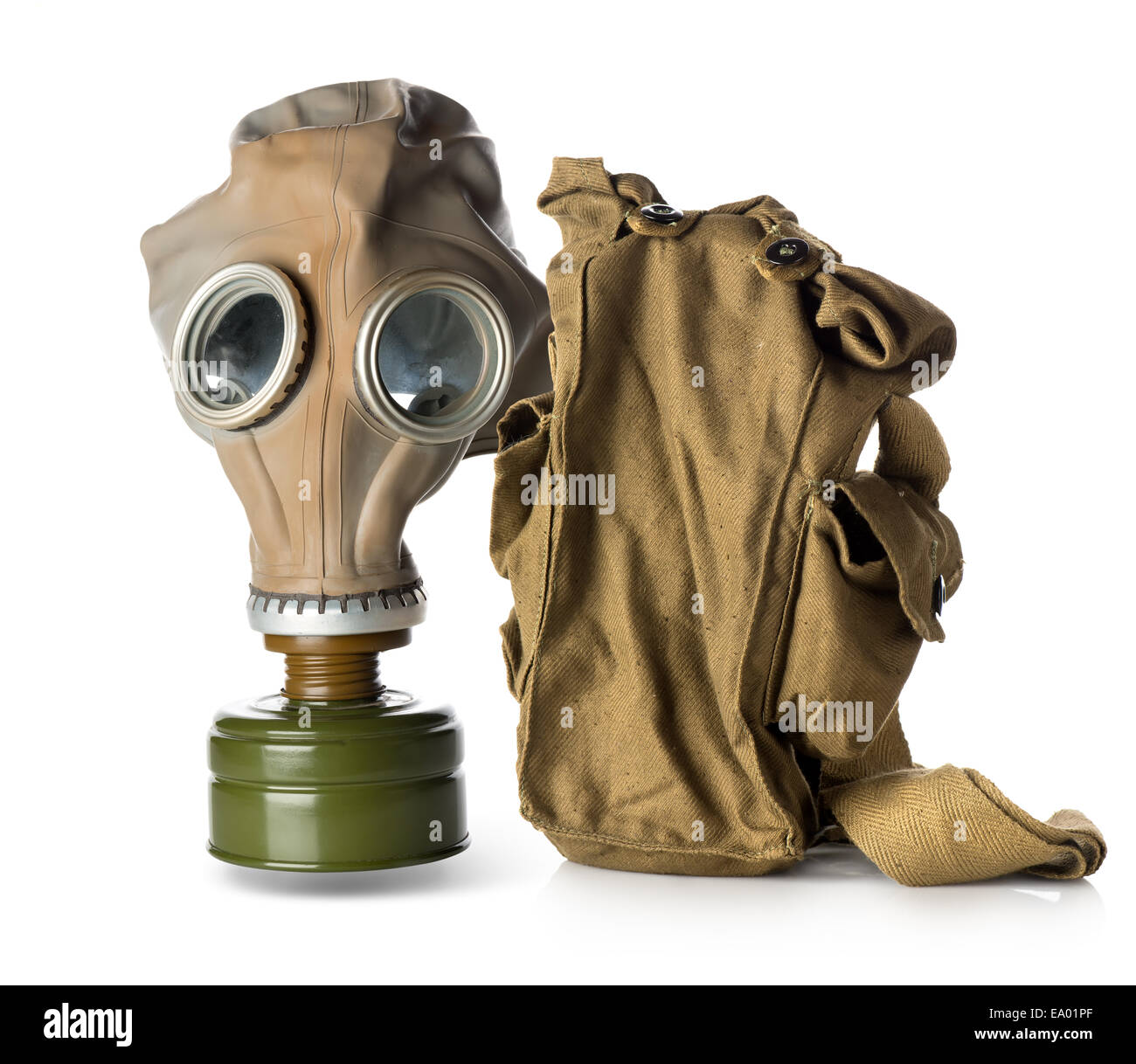 Respirator with bag isolated on white background - Stock Image