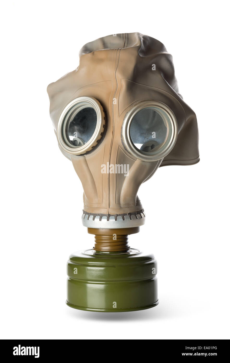 Rubber respirator isolated on a white background - Stock Image