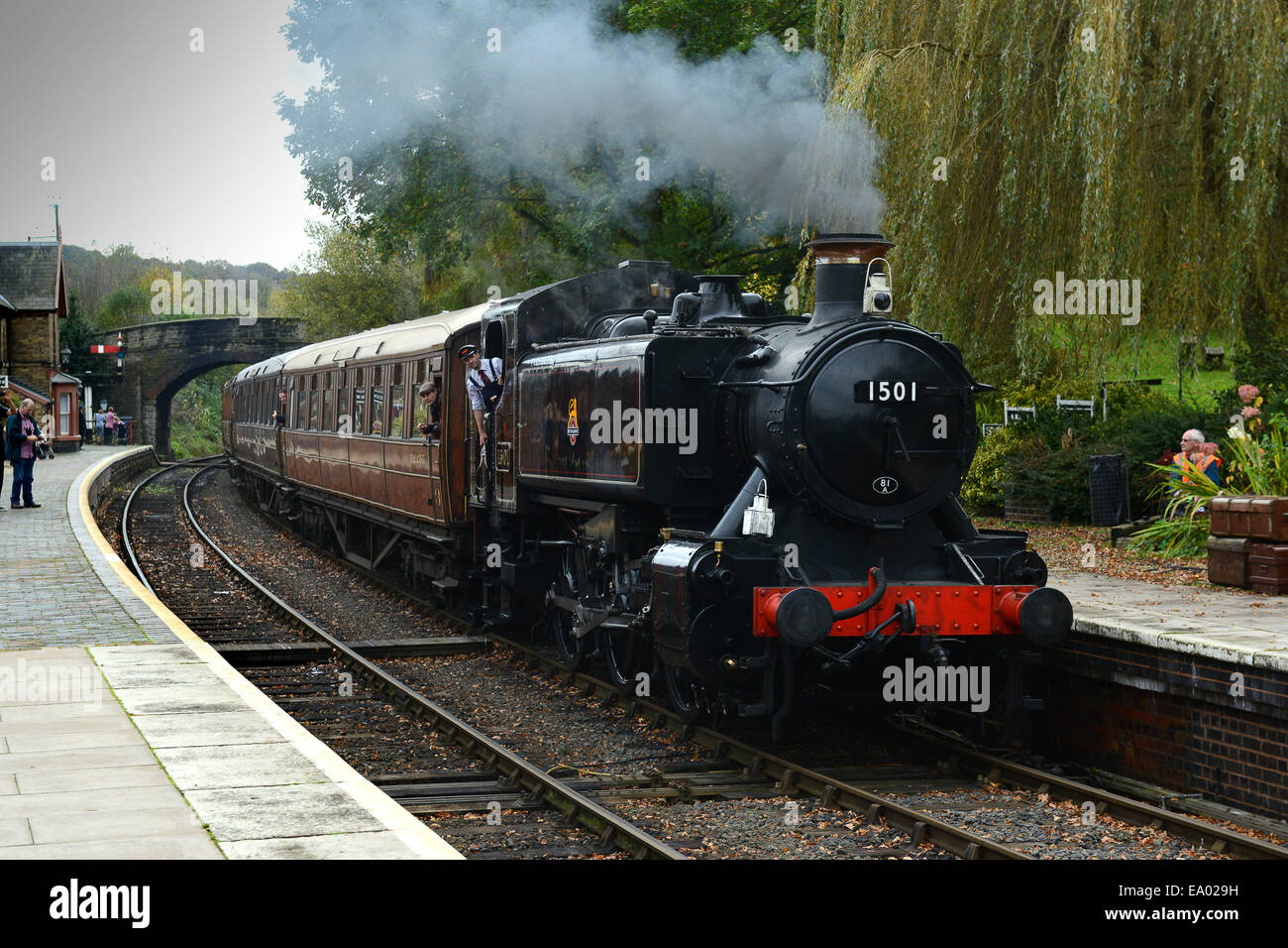 Severn Valley Railway steam locomotives locomotive train at Arley Station Uk - Stock Image