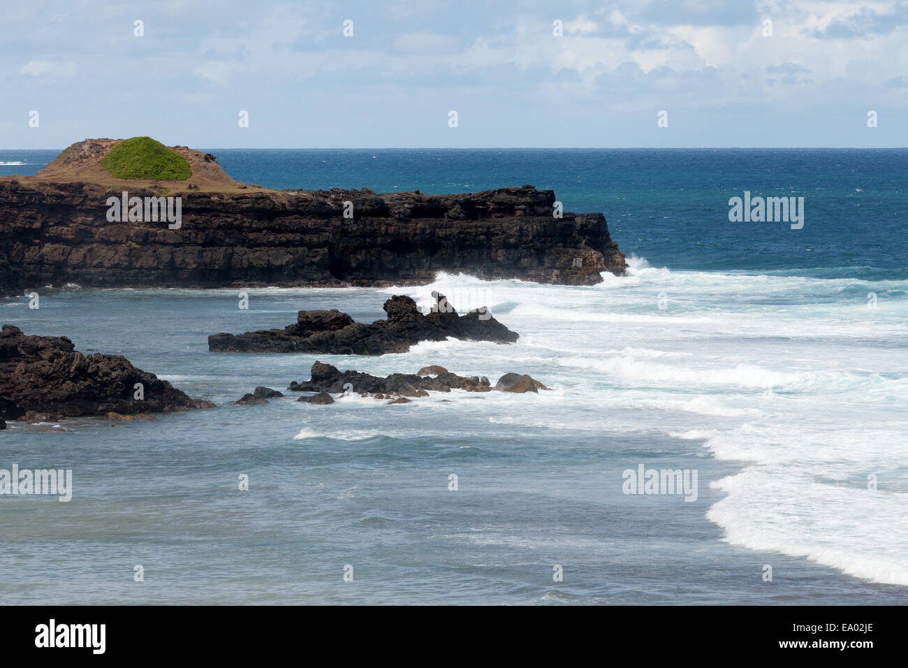 The rocky coast at Le Gris Gris beach, south Mauritius - Stock Image