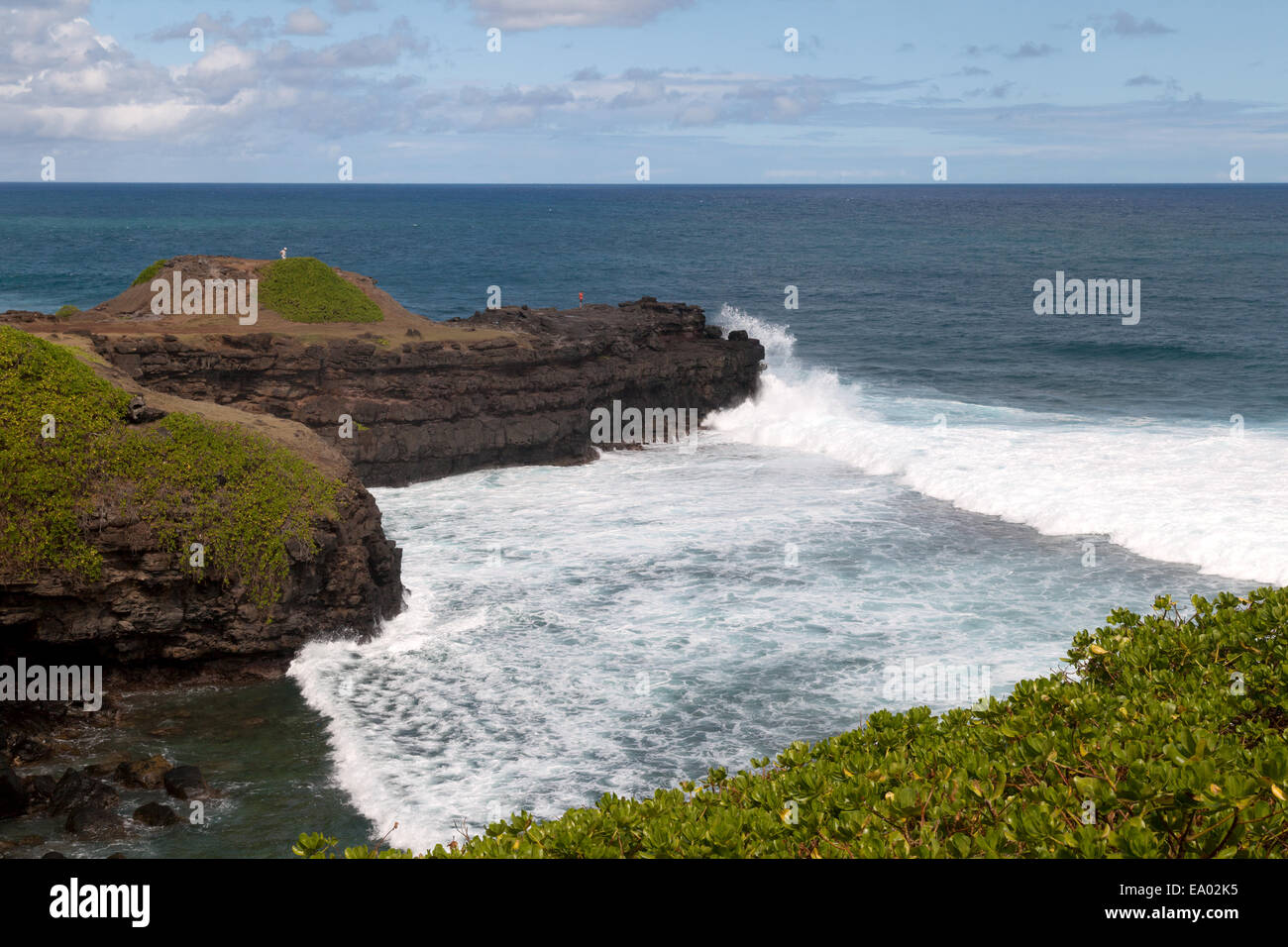 The Rocks that weep or cry, or the Crying rocks, le Gris Gris, south coast, Mauritius - Stock Image