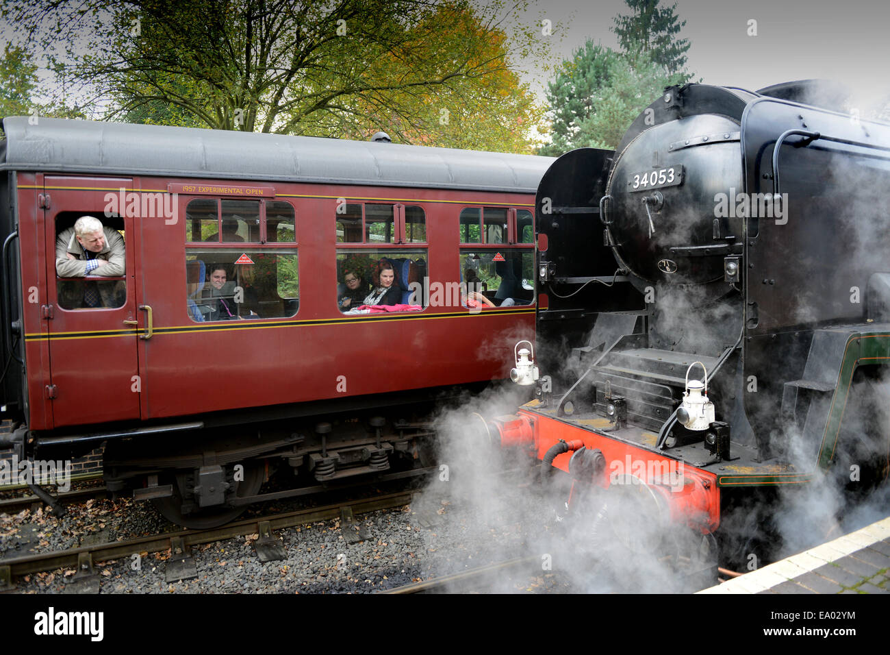 Severn Valley Railway steam locomotives 'Sir Keith Park' and passengers at Arley Station Uk - Stock Image