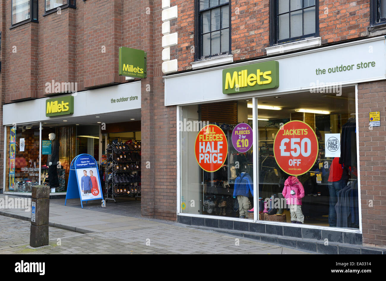 Millets the outdoor shop shops store stores Shrewsbury Uk - Stock Image