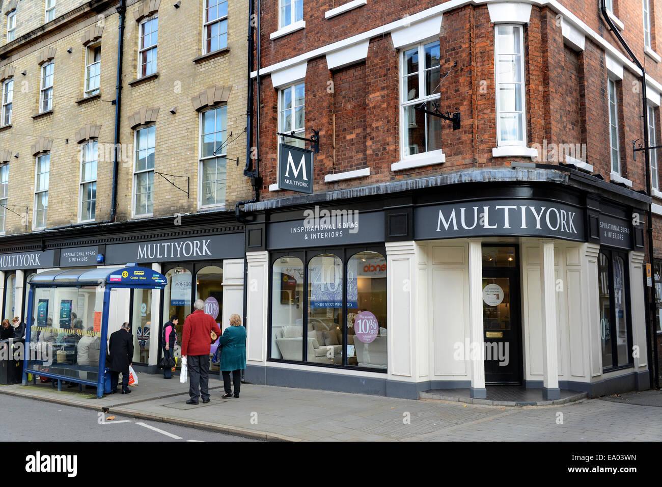 Multiyork interiors shop shops store stores Shrewsbury Uk - Stock Image
