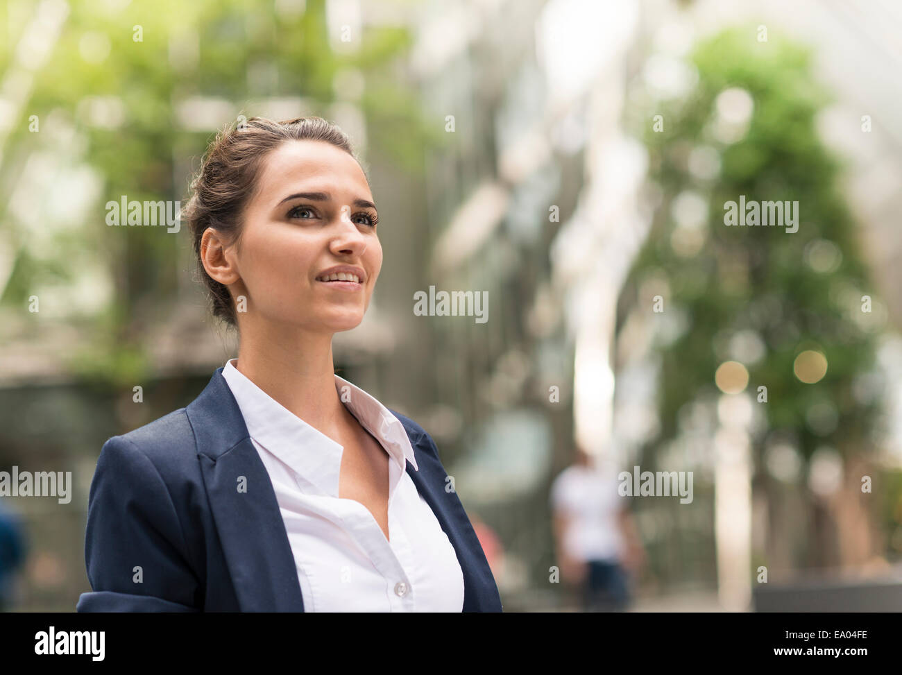 Young confident businesswoman at Broadgate Tower, London, UK - Stock Image