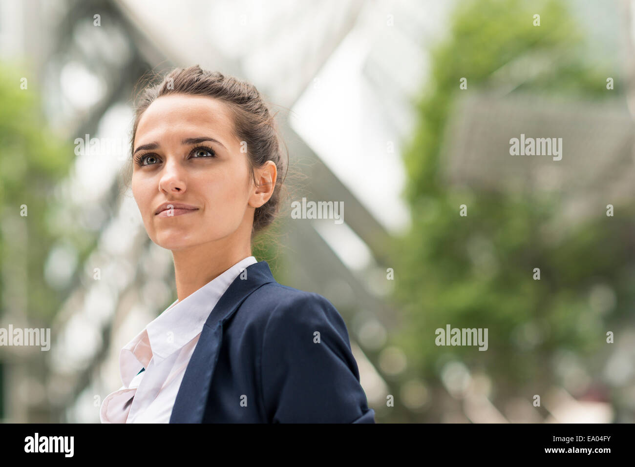Confident businesswoman at Broadgate Tower, London, UK - Stock Image