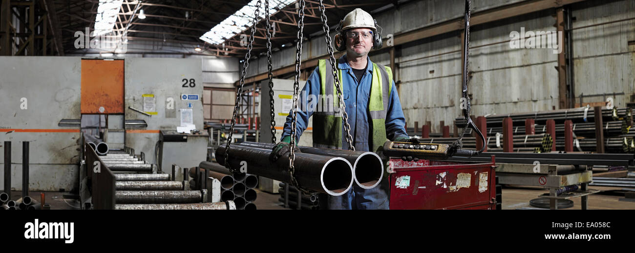 Portrait of a steelworker in his working environment Stock Photo