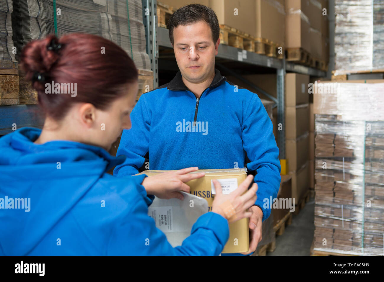 Factory workers labelling parcel - Stock Image