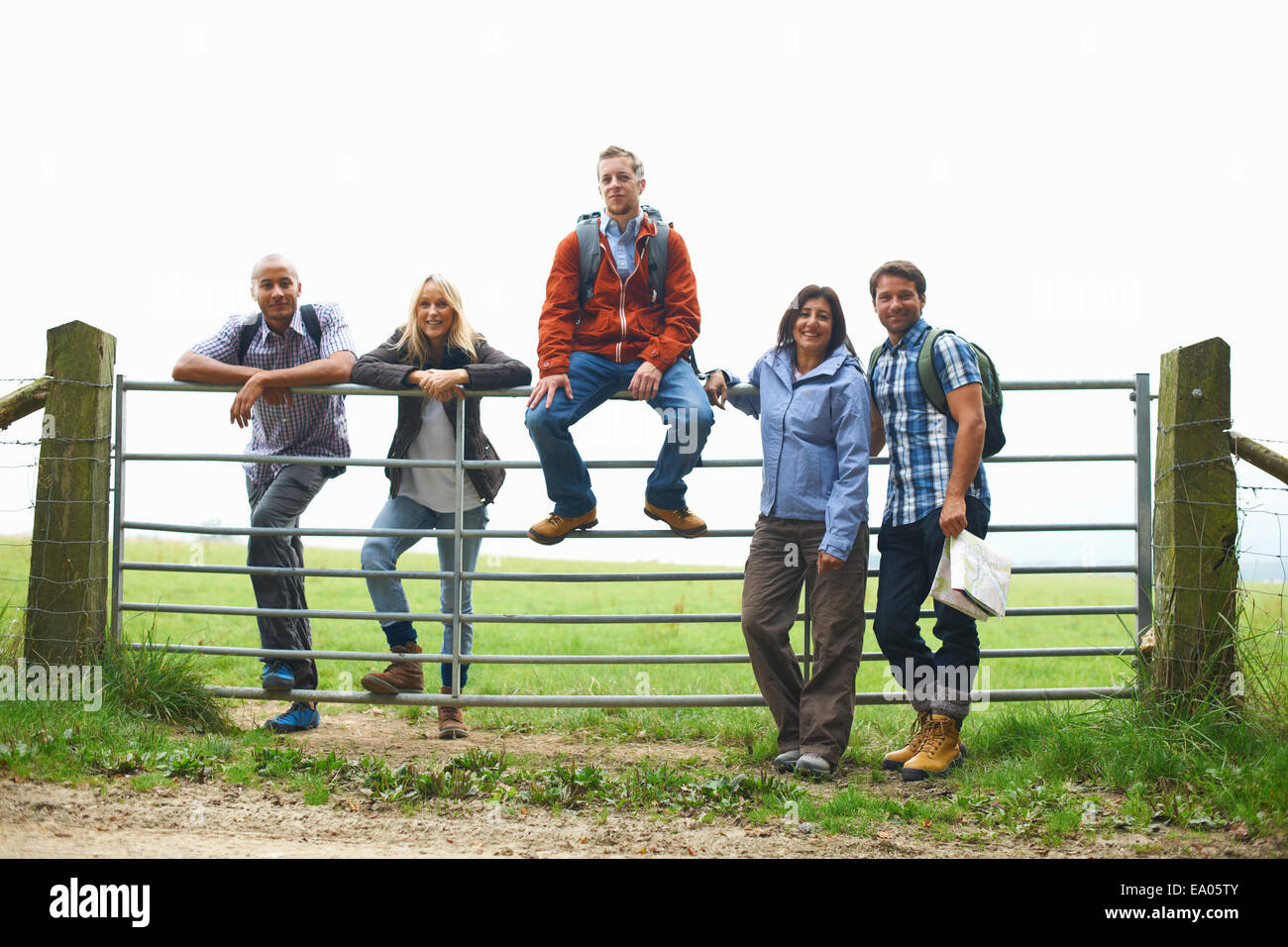 Friends standing at gate in fields - Stock Image