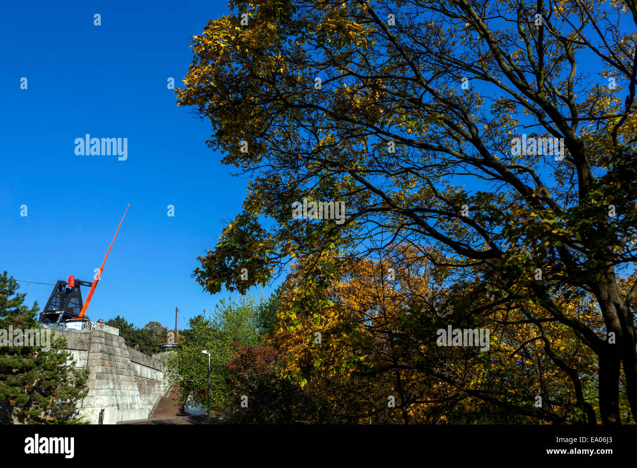 Prague metronome at Letna Hill in former Stalin monument place, Czech Republic - Stock Image