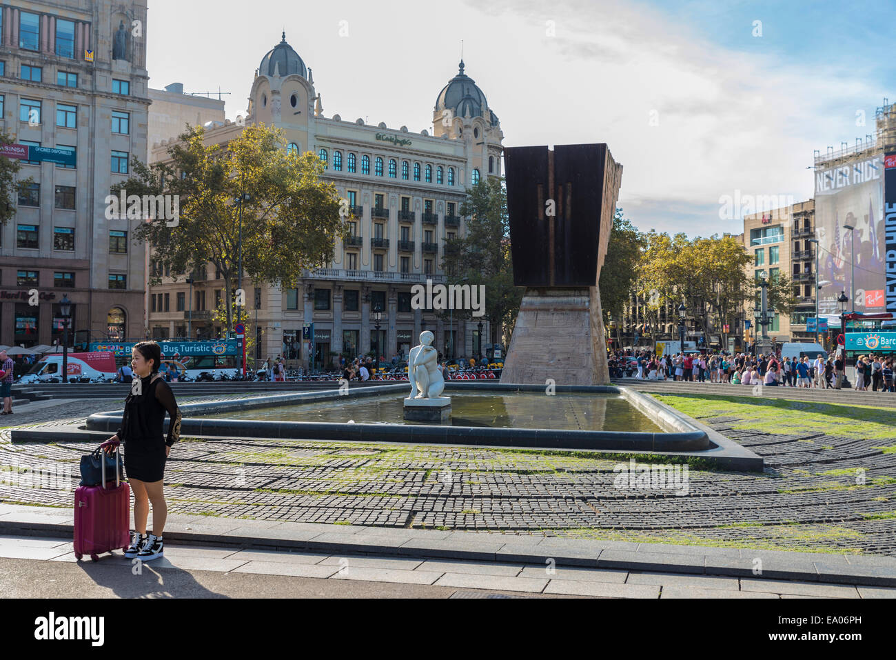 Placa Catalunya And The Back Of The Monument To Francesc Macia In