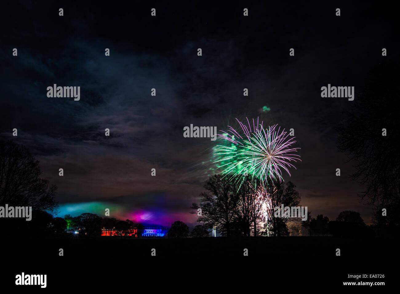 Firework display at Boughton House, Kettering - Stock Image