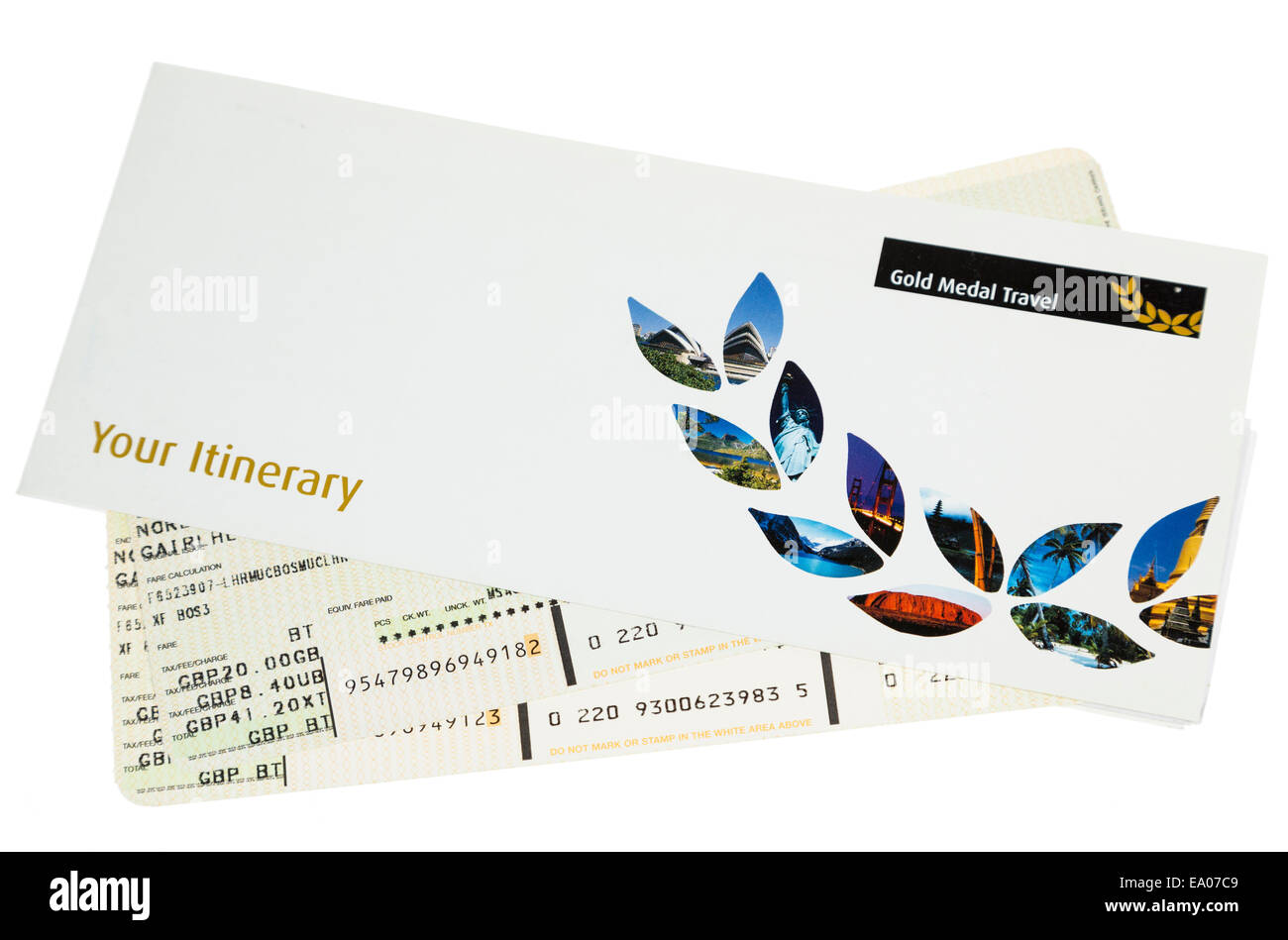 Airline ticket and itinerary for flying from Gatwick, London, UK - Stock Image