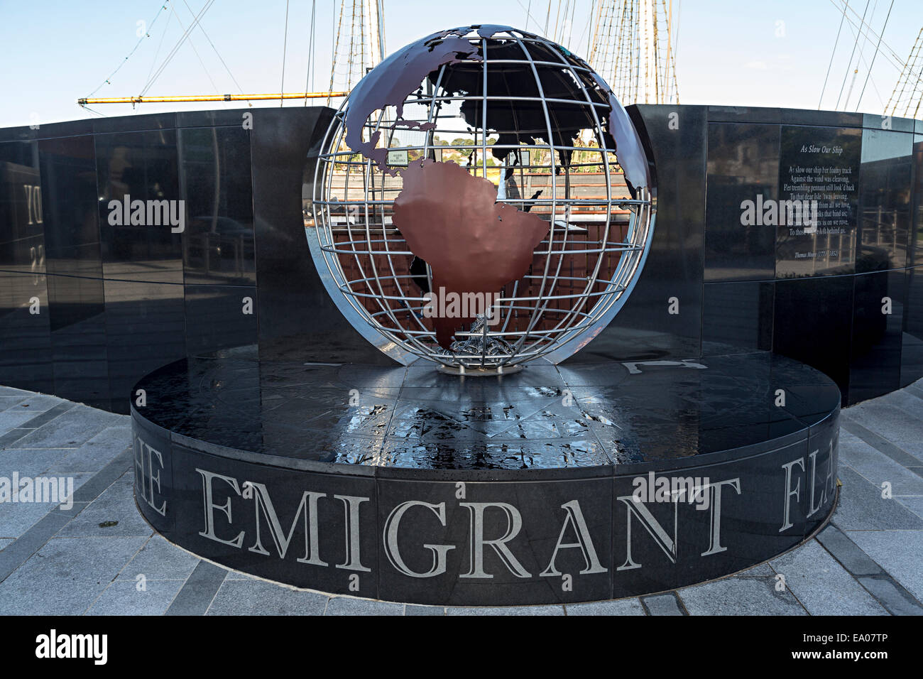 The Emigrant Flame memorial and ship, New Ross, Co. Wexford, Ireland - Stock Image