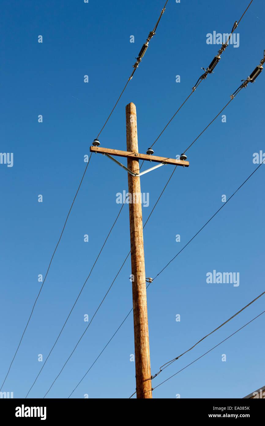 overhead telegraph pole and wires Saskatchewan Canada - Stock Image