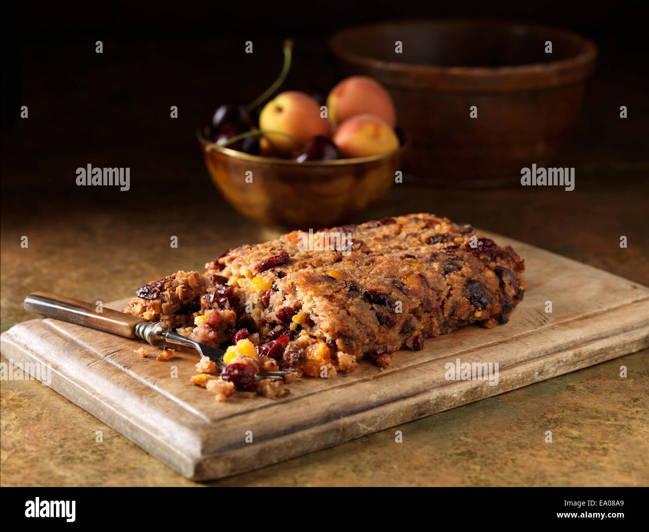 Festive Christmas ingredients of pork & morello cherry stuffing with cherries and peaches - Stock Image
