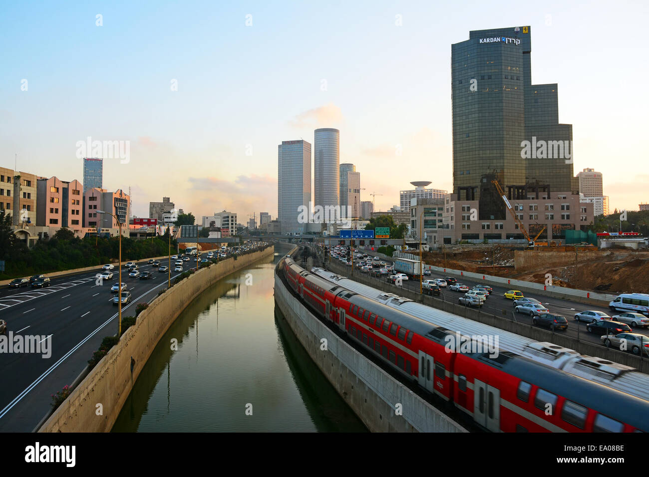 Tel Aviv, Ayalon Highway and water way - Stock Image