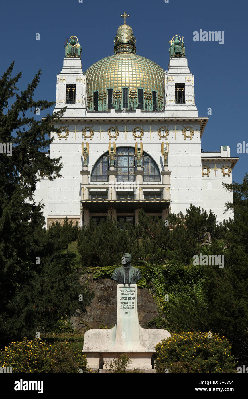 The Steinhof Church designed by Otto Wagner and monument to Leopold Steiner in Vienna, Austria. - Stock Image
