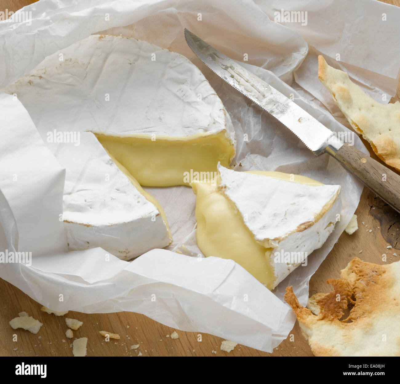 Brie wrapped in paper - Stock Image