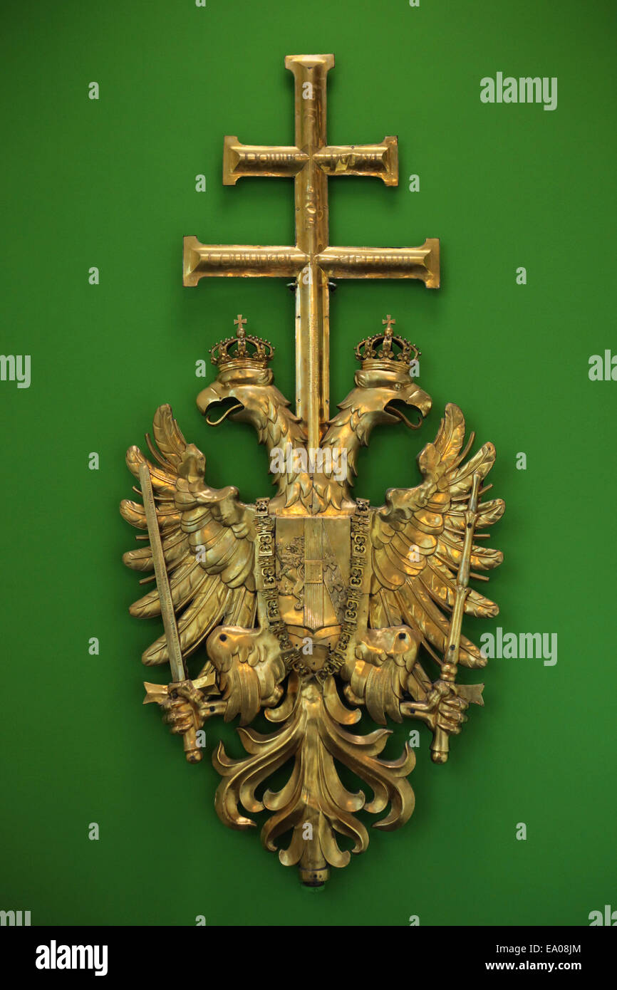 Coat of arms of the Austrian Empire from the bell tower of the Stephansdom. Vienna Museum Karlsplatz, Vienna, Austria. - Stock Image