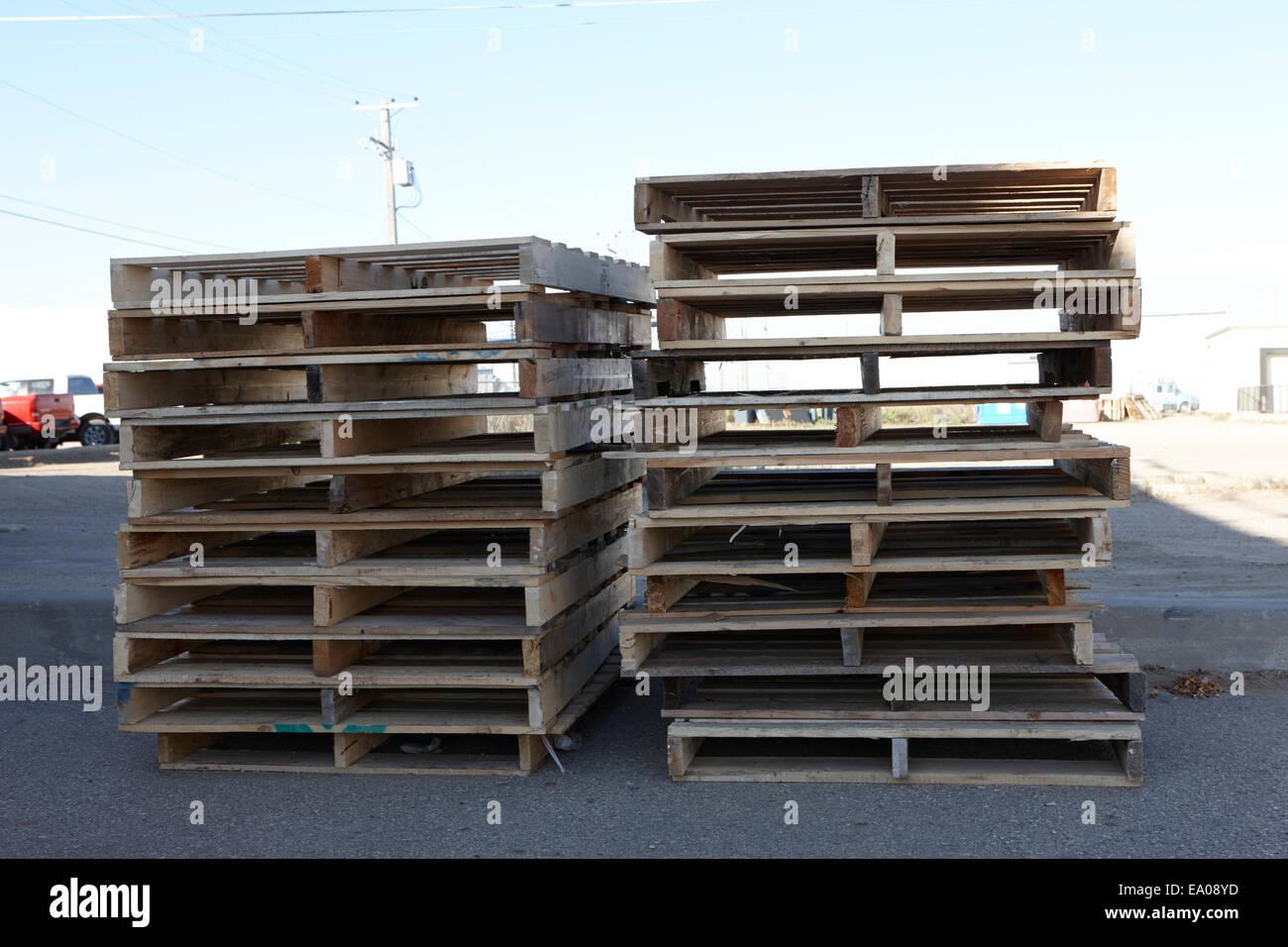 pile of wooden pallet waste Saskatchewan Canada - Stock Image