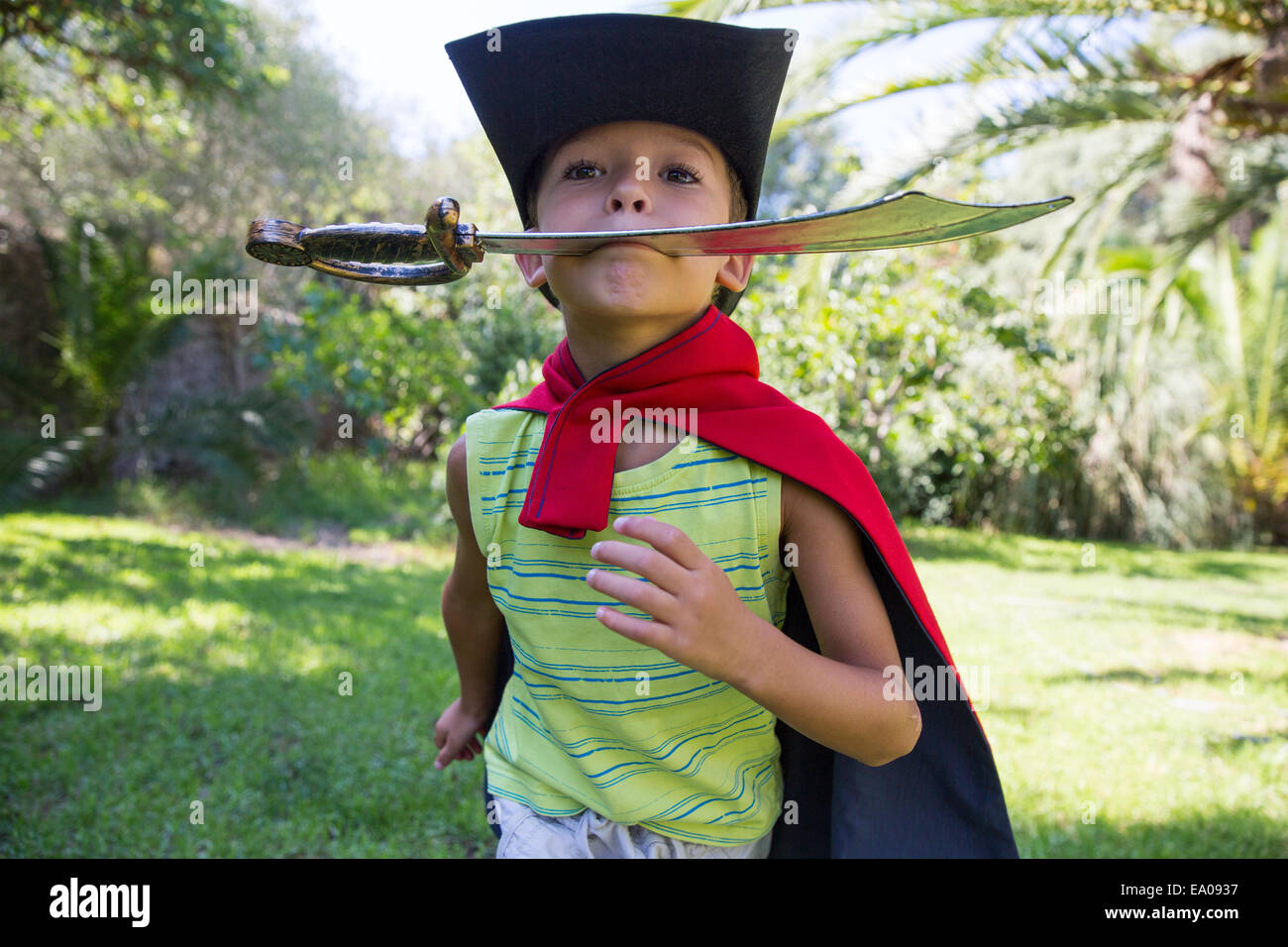 Young boy wearing fancy dress costume, running in park Stock Photo