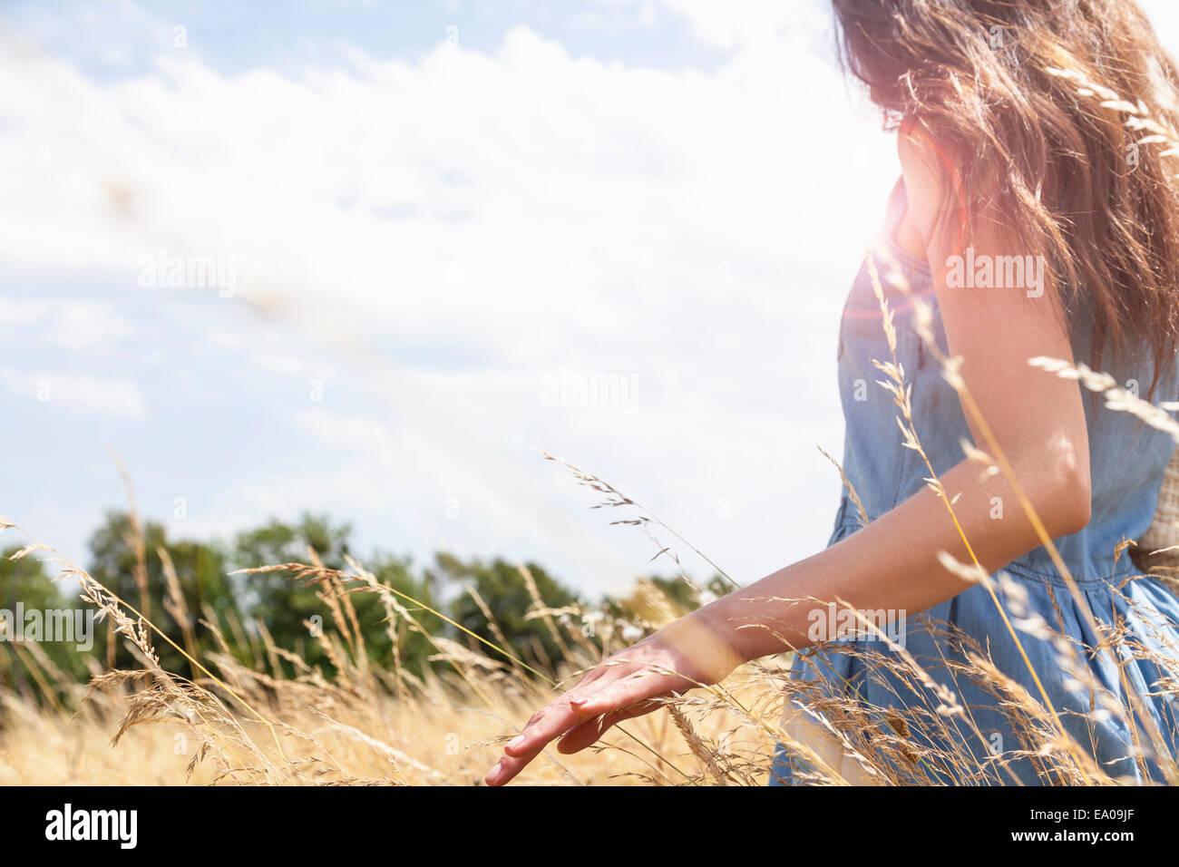 Young woman enjoying nature, Roznov, Czech Republic - Stock Image