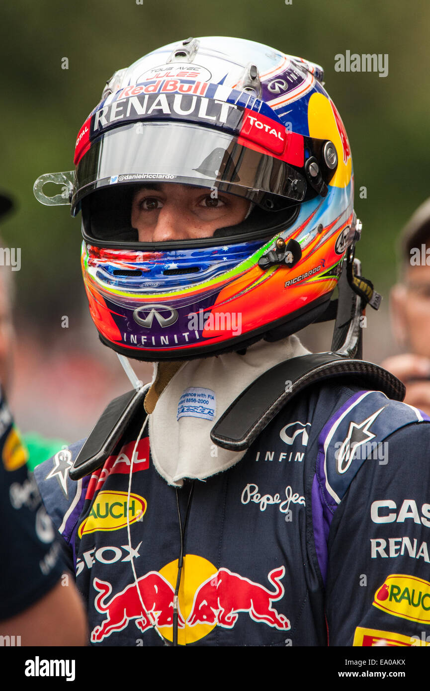 Daniel Ricciardo, driver for the Formula 1 Infiniti Red Bull team, seen wearing his helmet in downtown Austin, Texas. - Stock Image