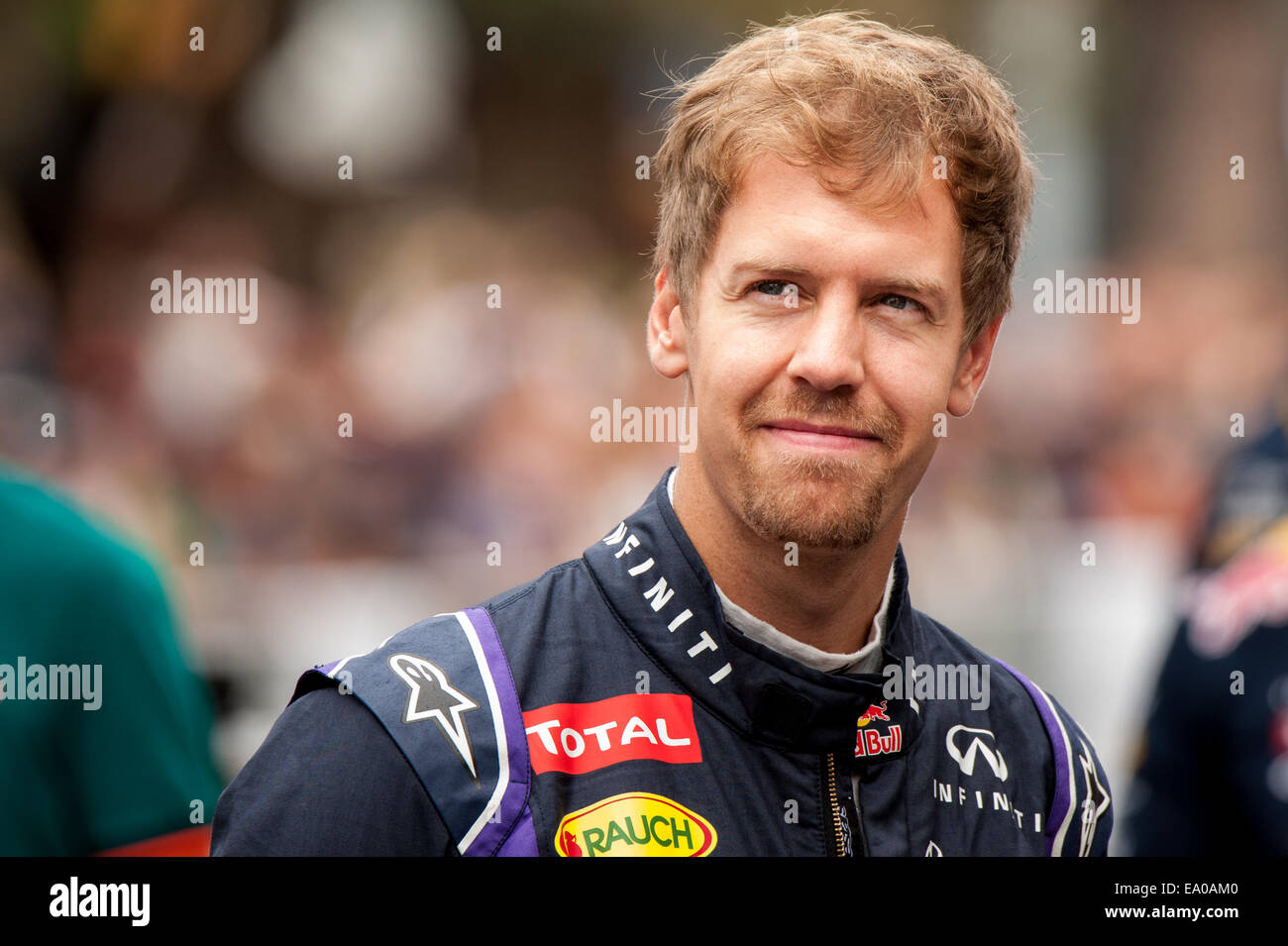 Reigning Formula 1 world champion, Sebastian Vettel, seen at a Red Bull/Infiniti demonstration on Congress Avenue Stock Photo
