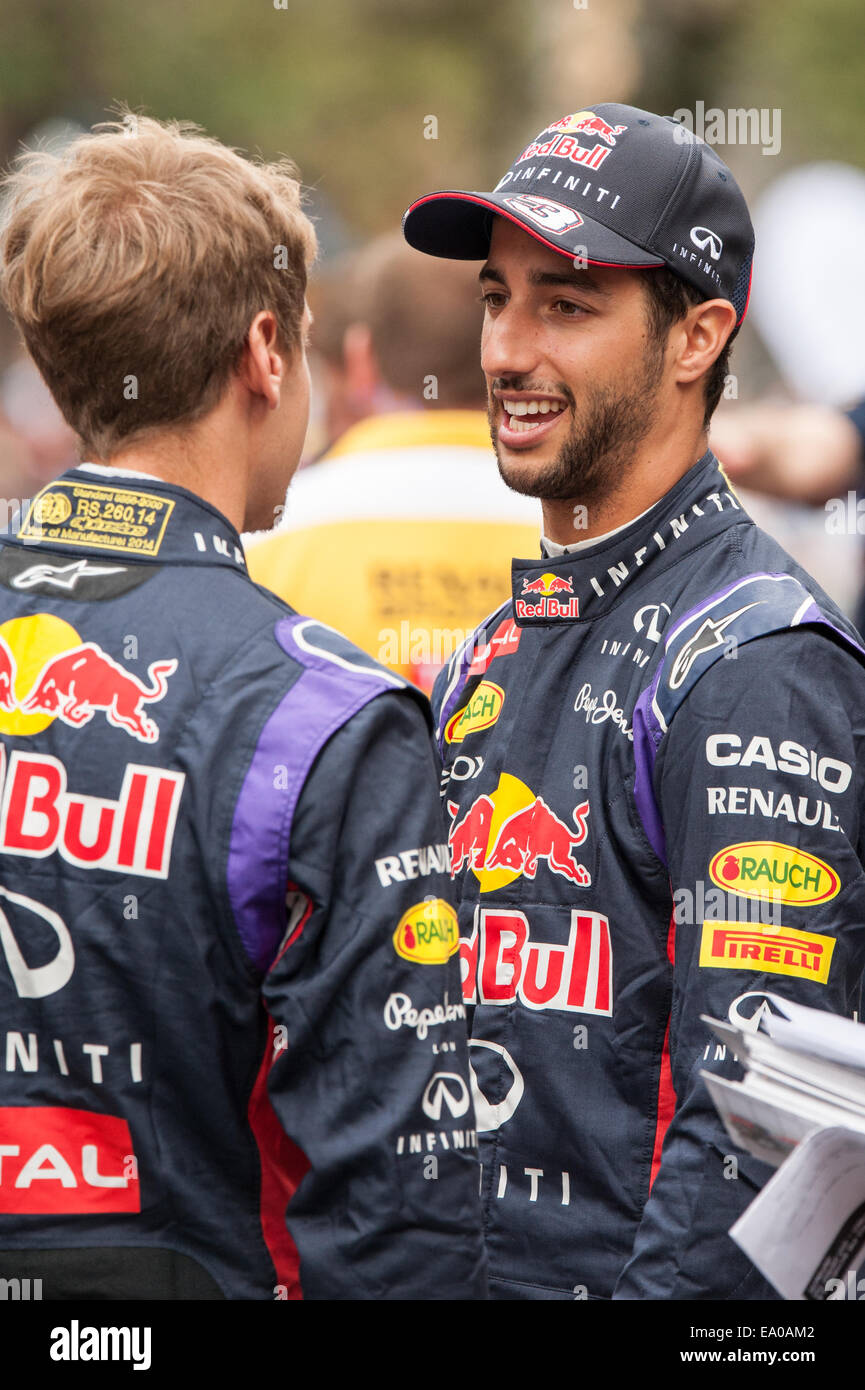 Infiniti Red Bull Formula 1 drivers Daniel Ricciardo and Sebastian Vettel seen at a demonstration event in Austin, Stock Photo