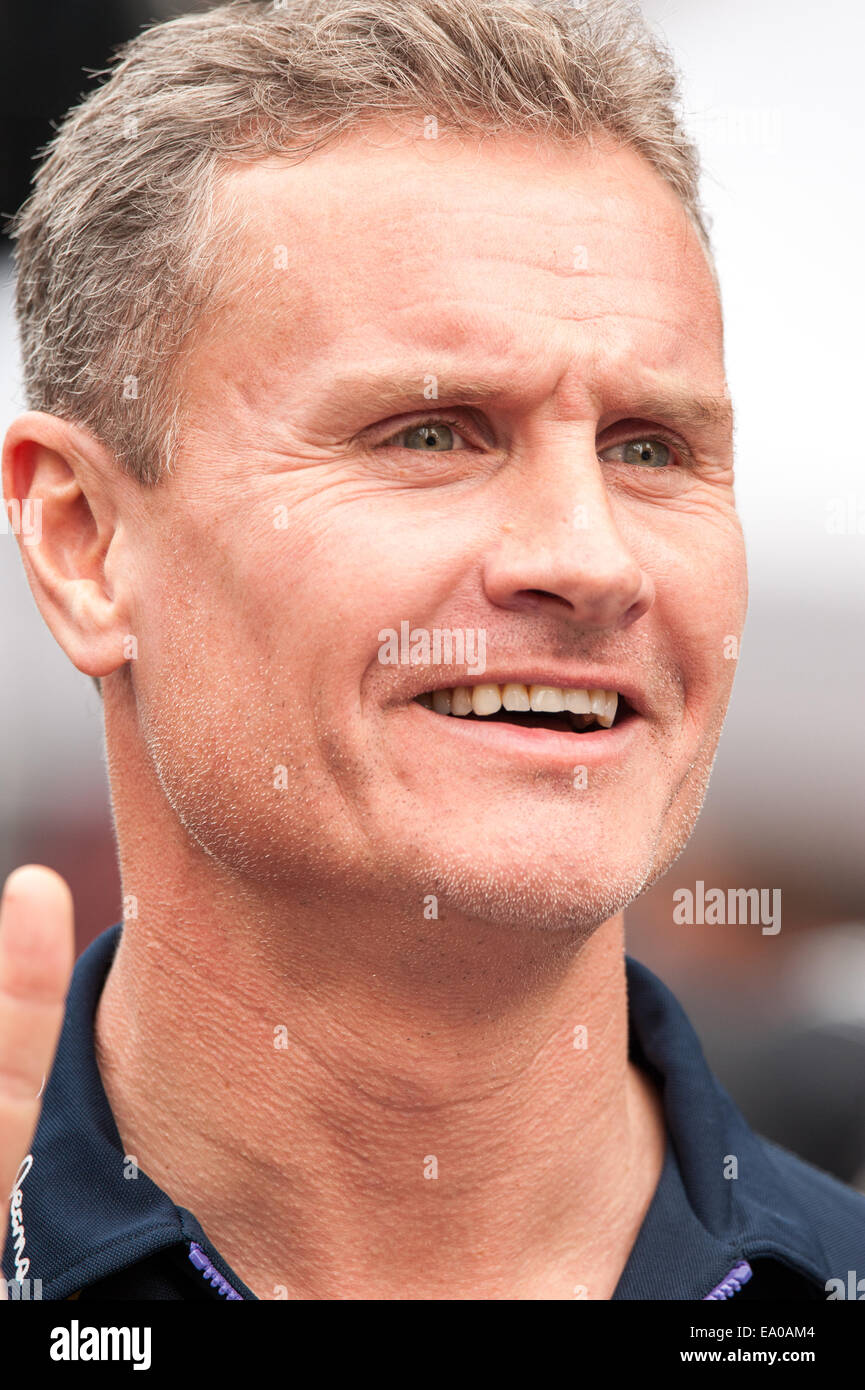 Retired Formula 1 driver and commentator, David Coulthard, seen at a Red Bull demonstration event in Austin, Texas - Stock Image