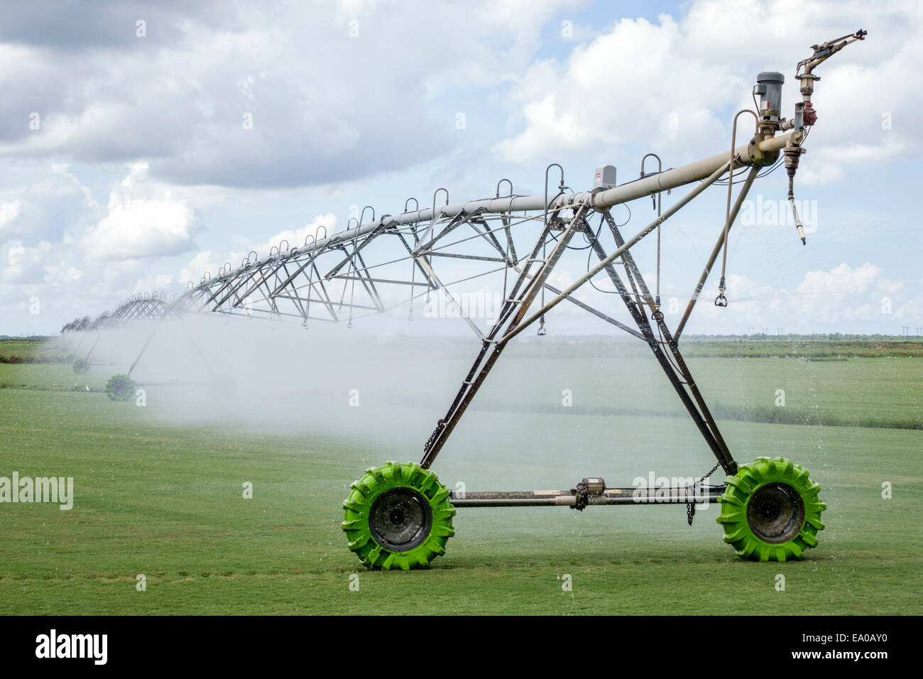 Florida Indiantown center pivot irrigation equipment centre automated turf farm grass irrigating water - Stock Image