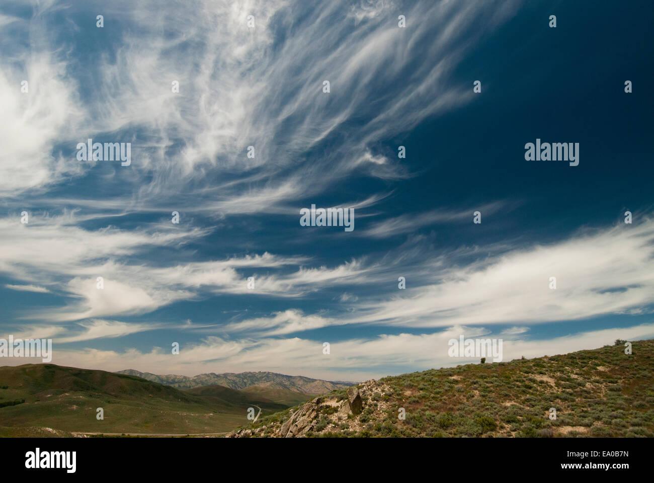 Cirrus spissatus clouds, SW Idaho Stock Photo