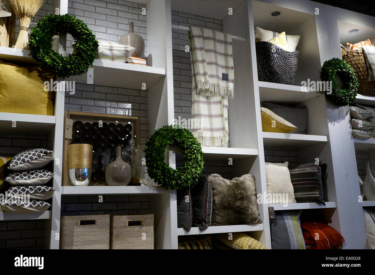 Christmas home decor display in a store - Stock Image