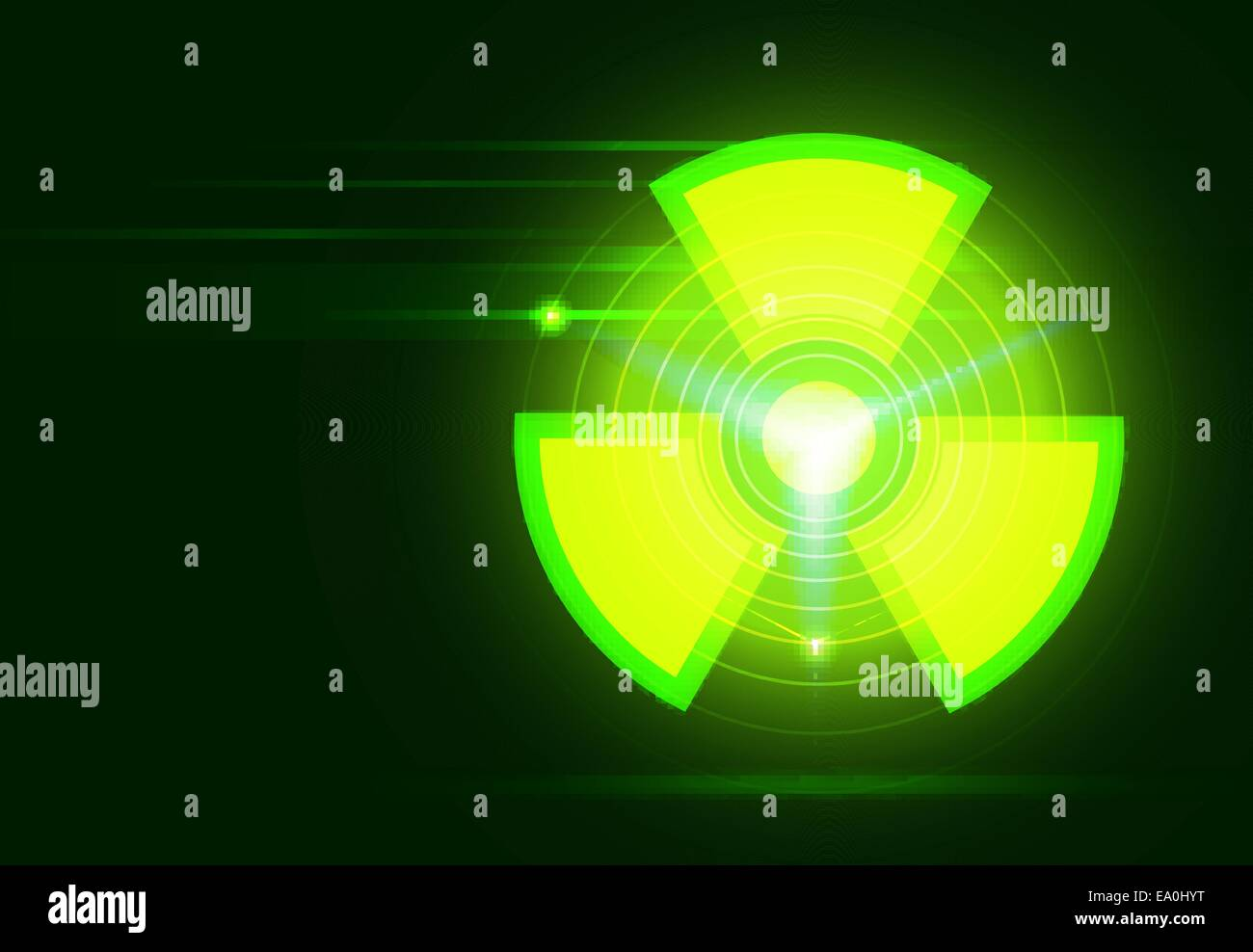 vector bio-hazard symbol on dark green background, transparency and gradient mesh used - Stock Vector