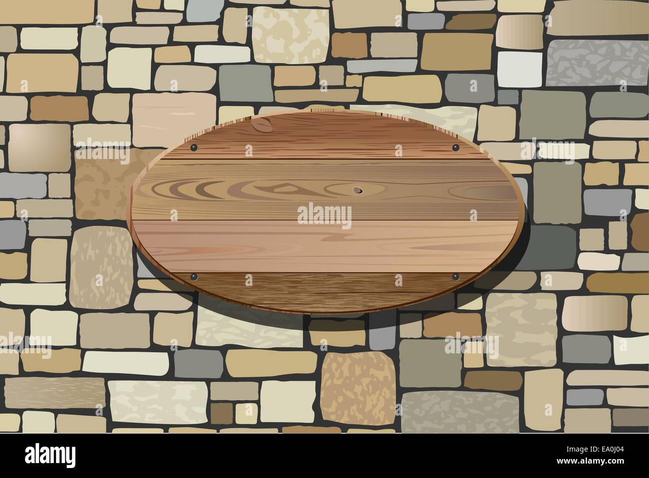 vector illustration of stone wall and wooden board for your text - Stock Vector